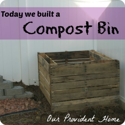 Compost Bin built from four salvaged pallets